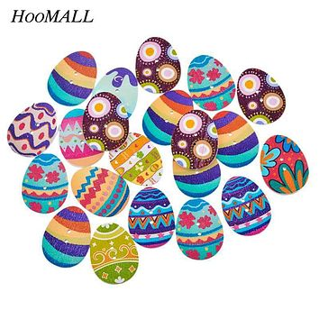 Hoomall New 50PCs Mixed Wooden Buttons Easter Eggs Painting 2 Hole Fit Sewing DIY Scrapbooking Craft