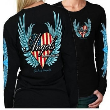 Country Life Outfitters Angel Black USA Heart American Flag Wings Long Sleeve Girlie Bright T Shirt
