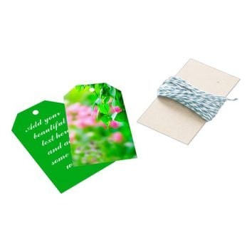 Birch leaves tulip flowers customizable gift tags
