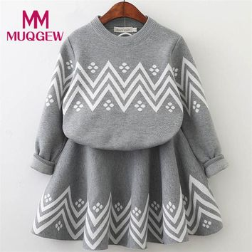 Fashion Trendy Toddler Kids Baby Girls Outfit Clothes Long Sleeve Knitted Sweater Tops+Skirt Set Autumn Winter Clothes Sets