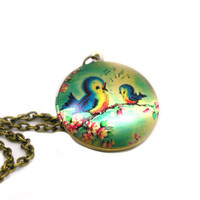 Locket Necklace, Charm Necklace, Long Bronze Necklace, Delicate Necklace, Memory Locket, Locket Pendant, Picture Locket Necklace, Bird Lover