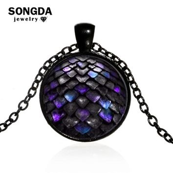 SONGDA 2018 Purple Dragon Large Egg Necklace Pop Game of Thrones Glass Dome Pendant Choker Steampunk 4 Color Chain Long Necklace
