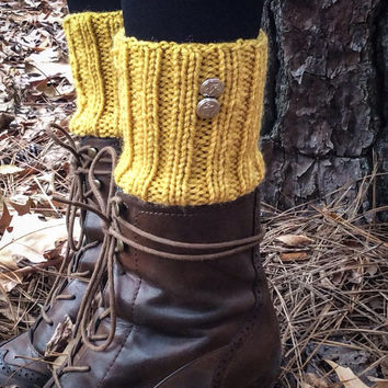 mustard boot cuffs with silver antique anchor buttons