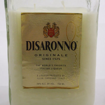 20 Ounce Pure Soy Candle in Reclaimed Disaronno Liquor Bottle - Your Choice of Scent