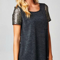 Shimmer Sleeve Tunic Top - Charcoal