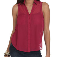 Solid Sleeveless Chiffon Shirt | Shop Tops at Wet Seal