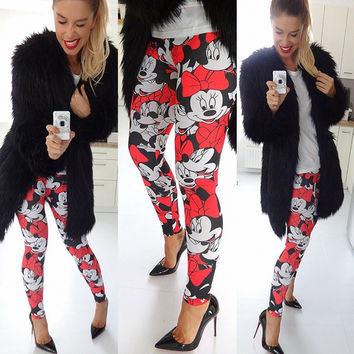 Hot Sale Mouse Print Slim Leggings [4956093060]