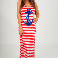 Sailing To Nowhere Dress: Red/Blue