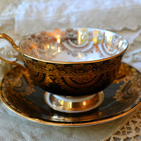 Artful Affirmations: Tea Cup Tuesday-Black, Gold and Old Lace