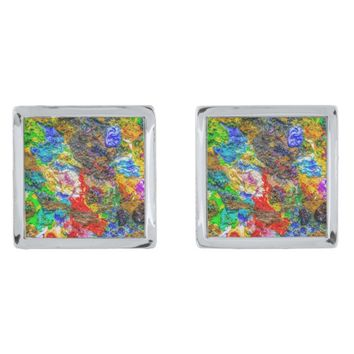 Color palette silver cufflinks