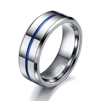 Fashion Thin Blue Line Tungsten Ring Wedding Carbide Rings