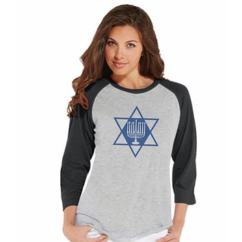 7 at 9 Apparel Women's Menorah Hanukkah Raglan Tee