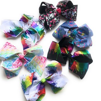 "Splatter Paint, Paint Drip and Rainbow Prism 8"" Hair Bows"