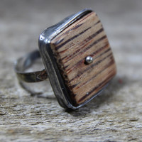 Coco wood square ring, statement ring, Engagement ring, coctail ring, adjustable ring