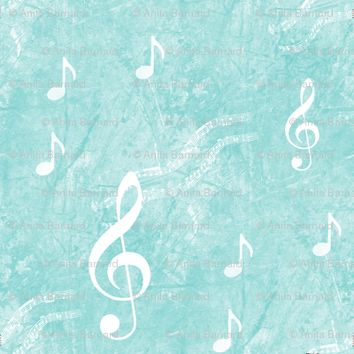 Musical Notes and Clefs on Aqua fabric - 13moons_design - Spoonflower