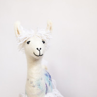 Michele - White Felt Llama, Art Marionette Puppet Handmade Stuffed Toy Alpaca.  pastel neutral  natural. MADE TO ORDER .