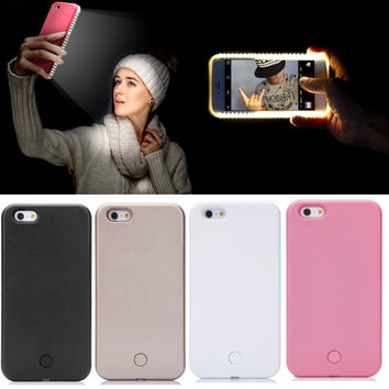 LED Light Up Selfie Phone Back Cover Case For iPhone 6 6S Plus