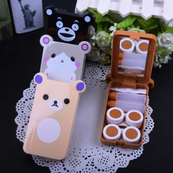 Cartoon Bear 2Pairs Contact Lenses Case Kit With Mirror Travel Lenses Box Color Eye Contacet Lens Box Container For Lenses