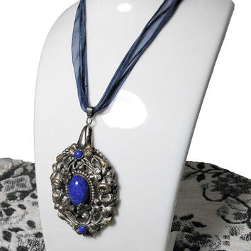 Vtg Oval Pewter Tone Pendant with Blue Stone Inlay / Clover and Floral Filigree Pendant / On Adjustable Blue Multi Strand Ribbon Necklace