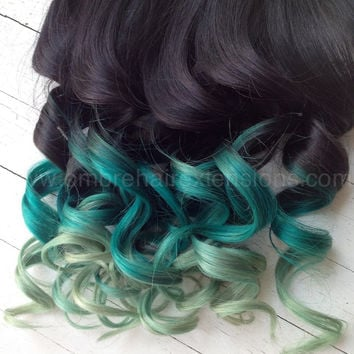 """Ombre Hair, Dip Dye, Remy human hair, extensions, Black Hair with fade levels of green, (7) Pieces, 18"""""""