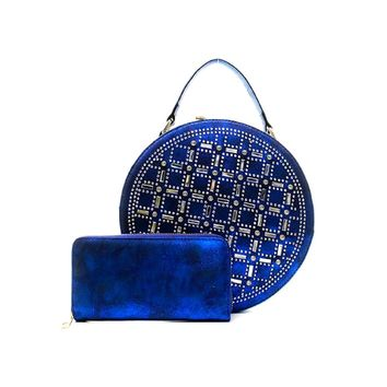 Rhinestone Studded Blue Vegan Leather Round Handbag with Matching Zippered Wallet