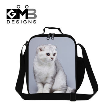Best Cat printing insulated lunch bags for girls,animal lunch box bag with bottle holder,childrens thermal lunch container strap
