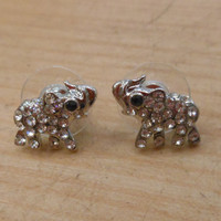 Silver Elephant Earrings - Rhinestone Elephant Earrings