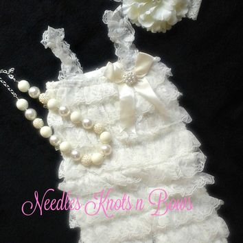 Ivory Petti Lace Romper Set, Baby Girls Christening Dress, Baptism Dress, Ivory Birthday Outfit