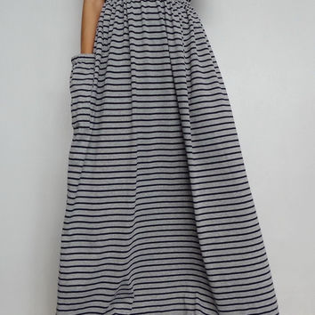 Women Maxi Long Skirt , Casual Gypsy, Bohemian , Cotton Blend In Gray Stripe (Skirt *M7).
