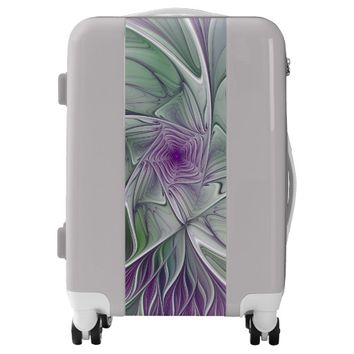 Flower Dream, Abstract Purple Green Fractal Art Luggage