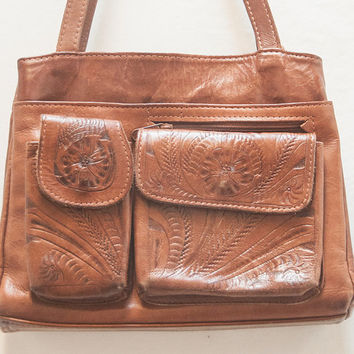 80s Vintage Tooled Leather Handbag | Hippie Boho Chic Leather Purse | Ethnic Mexican Native Southwestern Bohemian Shoulder Bag MANY POCKETS!