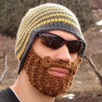 yellow and gray striped bearded beanie S/M by taraduff on Etsy