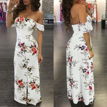 White Flowers Print Irregular Side Slit Off Shoulder Maxi Dress