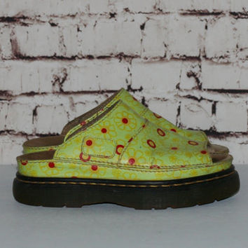 90s Dr Martens Leather Chunky Sandals Slip On Lime Green Daisy US 6 UK 5 Grunge Hipster cyber Goth pastel Festival boots shoes floral Neon