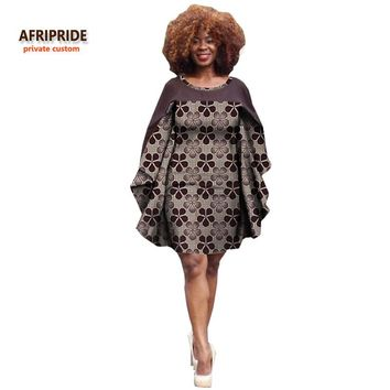 2017 african female dress AFRIPRIDE private custom Batwing sleeve Knee-length O-neck women casual dress plus size cotton A722585