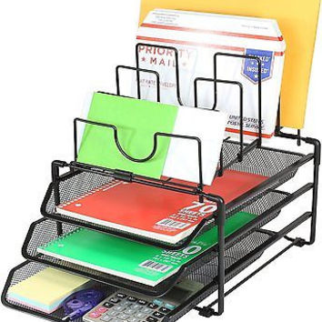 DecoBros STACKABLE Mesh Desk Convertable Organizer 3 Letter Trays And 5 Upright