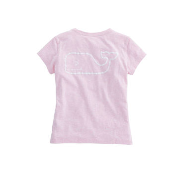 Girls Heathered Vintage Whale Pocket Tee