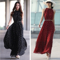 Women Maxi Summer Boho Long Chiffon Polka Dots Point Sundress Plus Bohemia Dress Free size up to 4XL = 1958400452