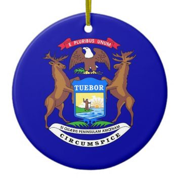Ornament with flag of Michigan