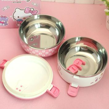 Keythemelife Hello kitty Thermo Lunch Boxs Portable Food Container PP+Stainless Steel Kids Lunchbox for Students EA