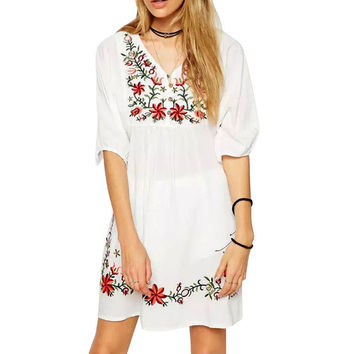 Summer Dress Mexican Ethnic Embroidered Pessant Hippie Half sleeve V-Neck Gypsy Boho Loose casual Mini Dress women