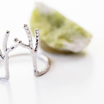 925 Sterling Antler ring,sterling silver ring,deer ring,stag ring,horn ring,reindeer ring,Rudolph ring,Christmas ring,christmas gift,ABC130
