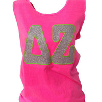 CUSTOM Glitter Big Greek (Sorority or Fraternity) Letter Tank