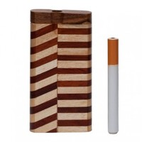 Striped Wood Dugout with Swivel Lid - Dugout Systems - Smoking Pipes - Grasscity.com