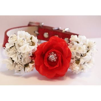 Red White floral Dog Collar, Rhinestone, Wedding pet Accessory
