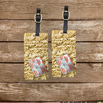 Luggage Tags Ramen Noodles Funny Food Set,  Personalized Metal Tags, 2 Tags Custom information on Backs Choice of Straps