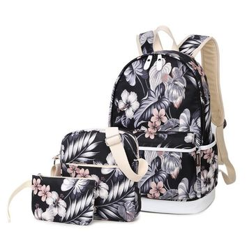 Student Backpack Children 3Piece/ Set Large Capacity Student Backpack Flower Printing Backpack Waterproof Canvas Middle School Student Schoolbag Series AT_49_3
