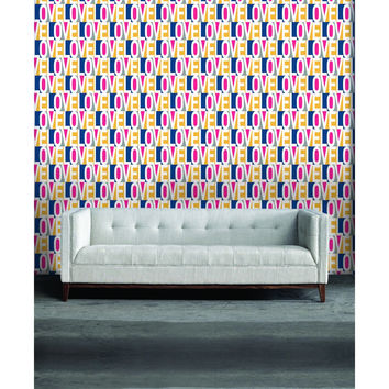 Love Self Adhesive Wallpaper in Pink, Blue, and Multi by Bobby Berk for Tempaper