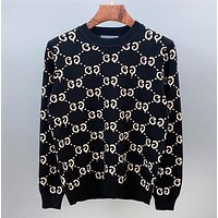 GUCCI New fashion more letter print long sleeve top Black