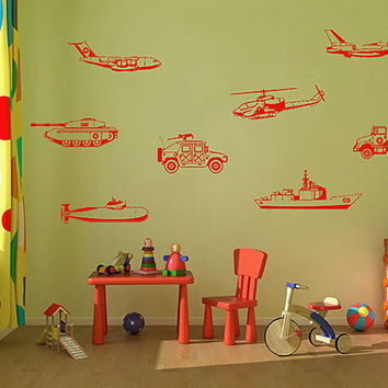 kik736 Wall Decal Sticker Room Decor Wall US Army military transport helicopter tank destroyer submarine weapons children's room